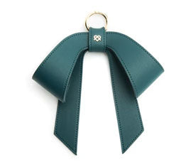 Vegan Leather Bag Bow - Dark Green