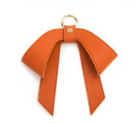 Vegan Leather Bag Bow - Orange