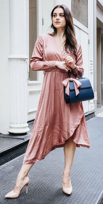 Model with Cottontail Navy Bag with Pink Bow