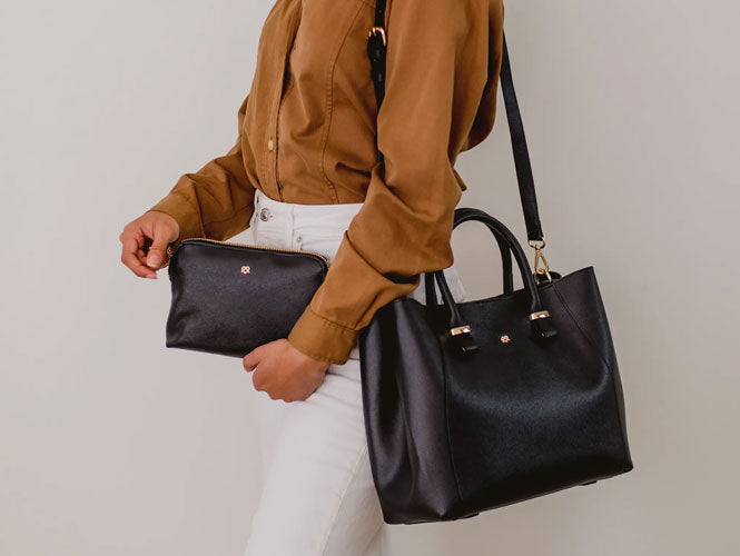 Jane - Black Vegan Leather Bag with Pouch