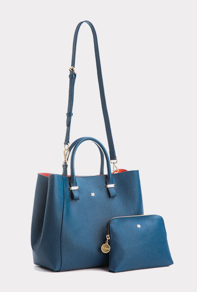 Jane - Dark Blue Vegan Leather Bag with Strap and Pouch