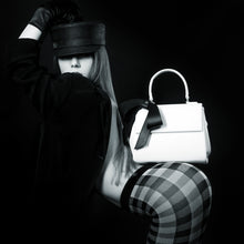 Cottontail PE White with Black Bow Vegan Shoulder Bag - Gunas New York Model 1