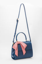Cottontail PE Navy with Mauve Bow Vegan Shoulder Bag - Gunas New York 4