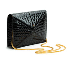 Black Faux Crocodile Vegan Leather 2
