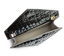 Black Faux Crocodile Vegan Leather 3