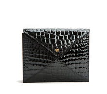 Black Faux Crocodile Vegan Leather 1