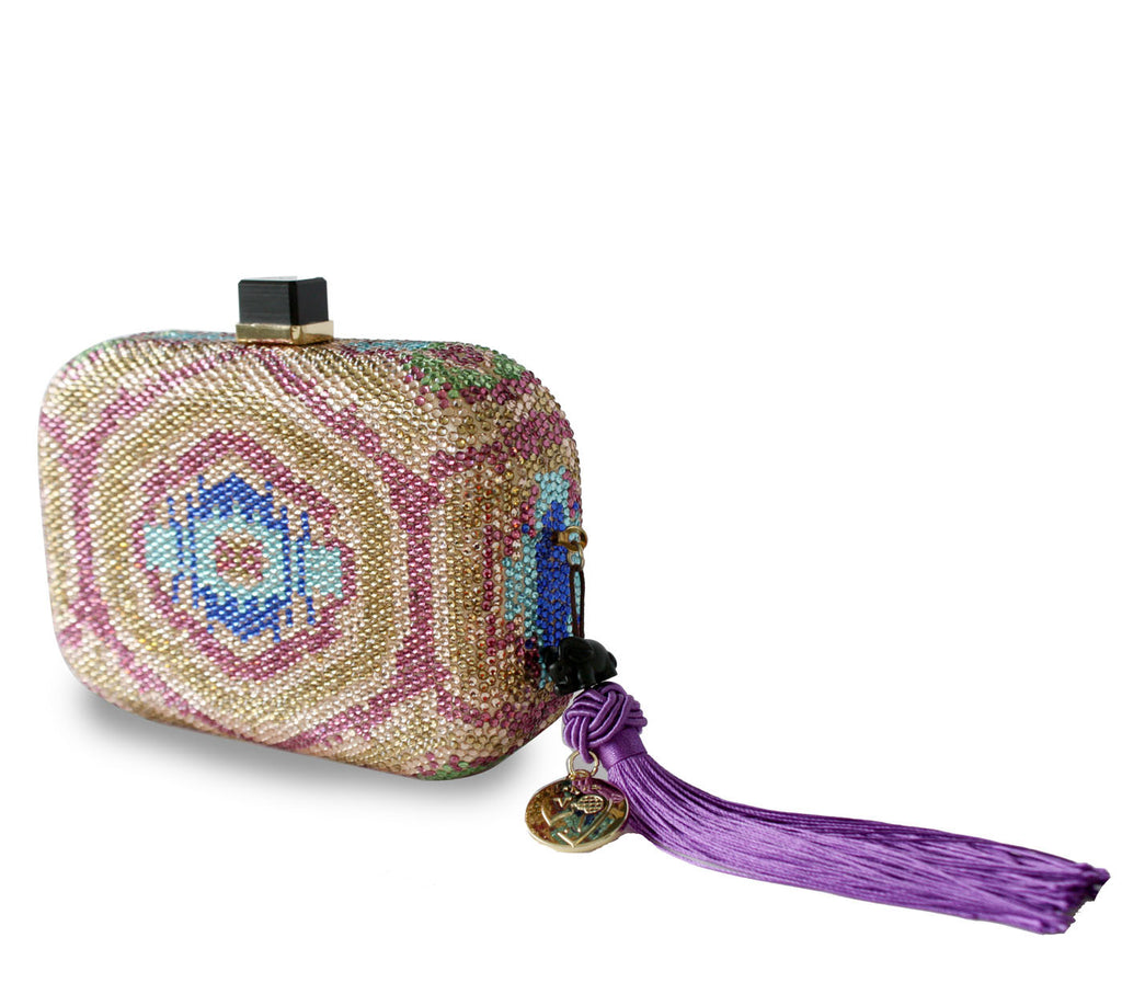 Crystal Ikat vegan clutch bag