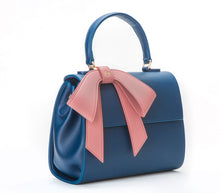 Cottontail PE Navy with Mauve Bow Vegan Shoulder Bag - Gunas New York 2