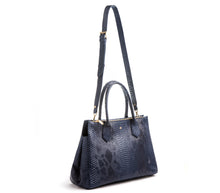 Koko Blue Snake Satchel and Handcrafted Work Bag: Gunas New York 3