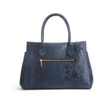 Koko Blue Snake Satchel and Handcrafted Work Bag: Gunas New York 4