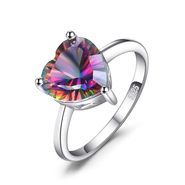 2.65ct Rainbow Fire Mystic Silver Ring