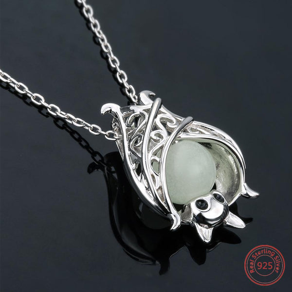 925 Sterling Silver Glowing Bat Necklace