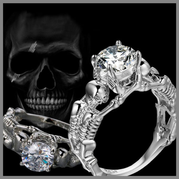 Amazing Silver Fire Skull Ring