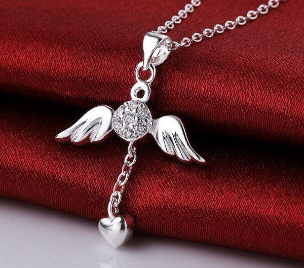 Angel Wings Heart Pendant