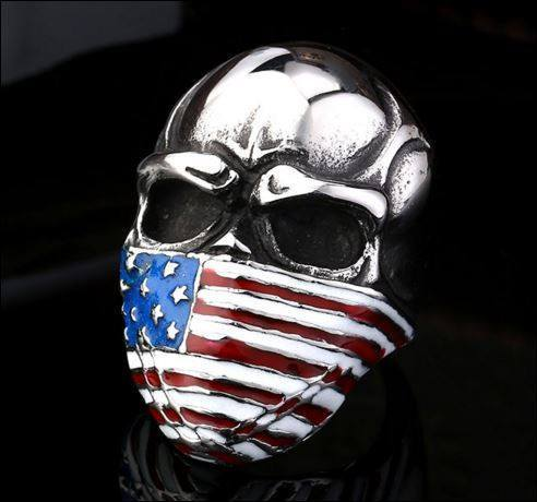 Badass US Flag Skull Ring