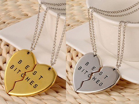 Best Bitches Forever Friend 2 Piece Necklace