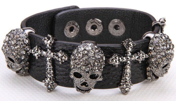 Black Leather Skull Cross Adjustable Bracelet