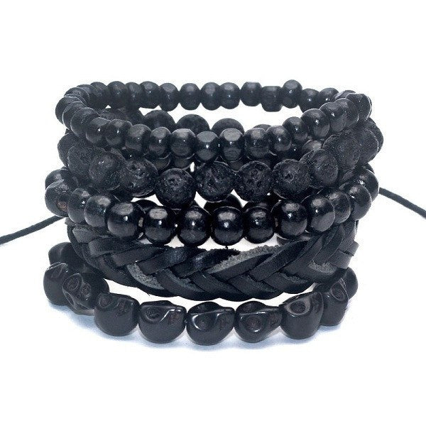 Black Out Bamboo Wood With Lava Stone Beads Leather Bracelet