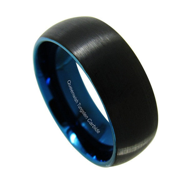 Black Tungsten Ring Band - Resilient Blue - 8MM