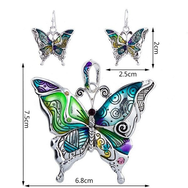 Colorful Butterfly Earrings And Necklace Set