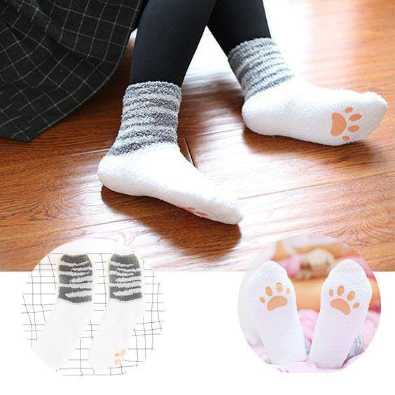 Crazy Cat Socks With Paws