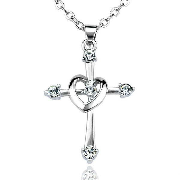Crystal Heart Cross Necklace