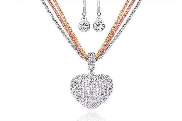 Crystal Studded Trio Chain Necklace And Earrings Set