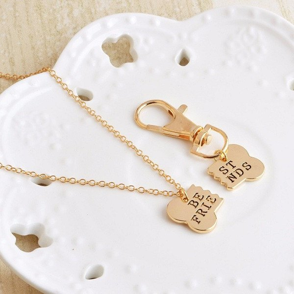"Dog Bone ""Best Friends"" Necklain And Key Chain Set"