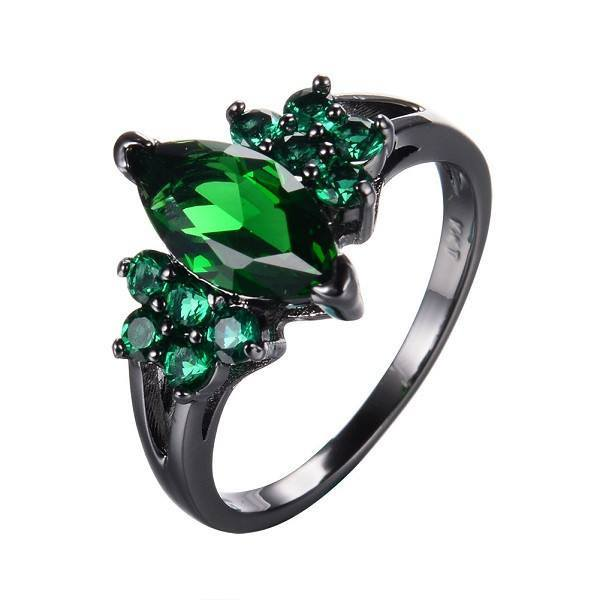 Elegant Emerald Jewelry Green Zircon Ring