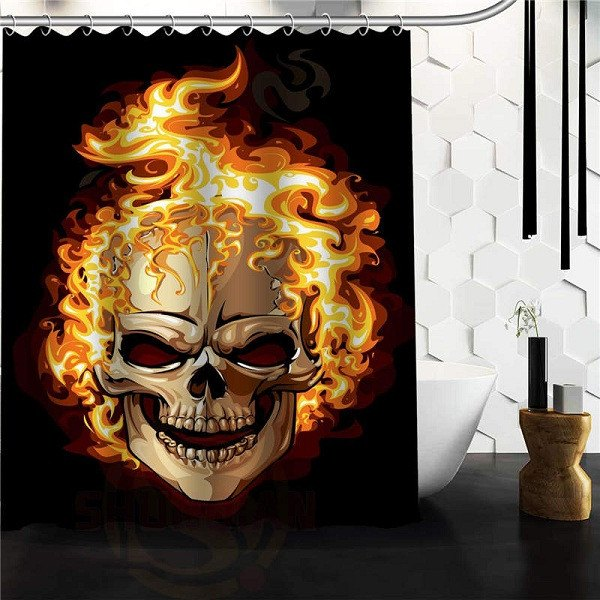 Flaming Skull And Bones Shower Curtain