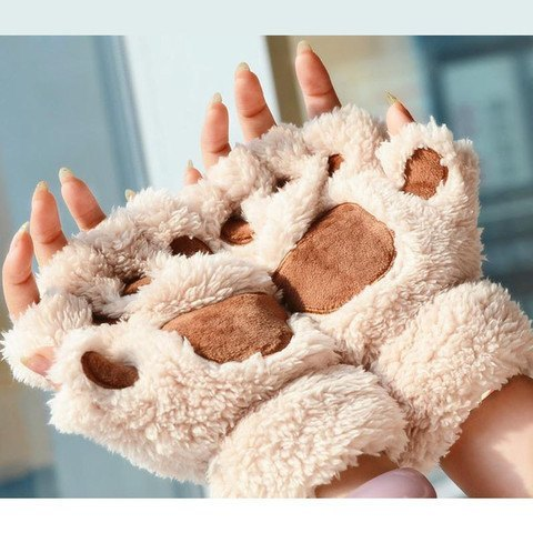 Fluffy Cat/Bear Paw Gloves