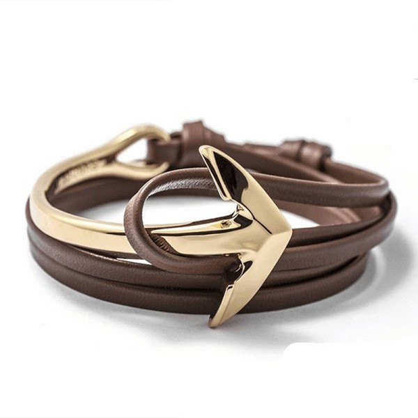 Half-Cuff Anchor With Leather Wrap Bracelet