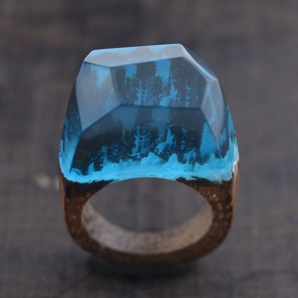 Handcrafted Blue Forest Ring