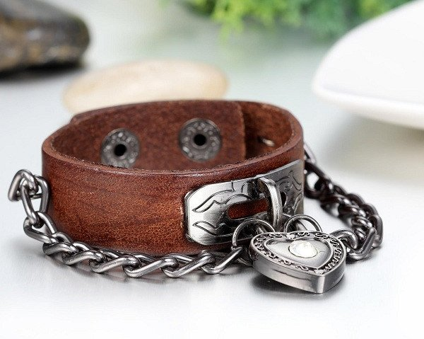 Heart Lock Leather Bracelet