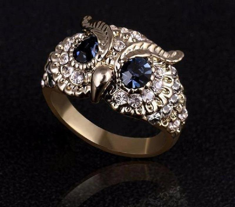 Jewelry Blue Crystal Eyes Owl Ring