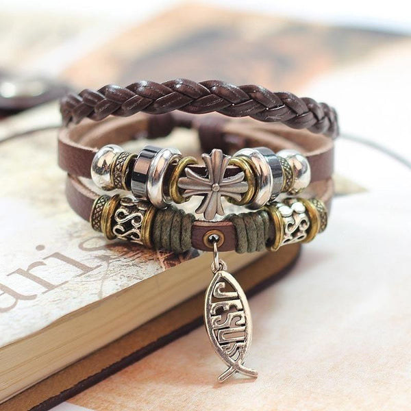 Leather Rope Jesus Charm Bracelet