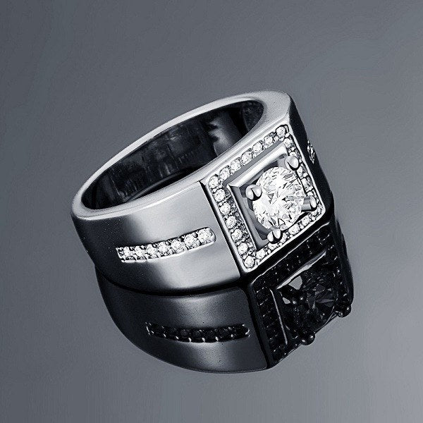 Men's Crystal Studded Ring
