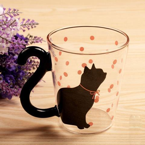 Modern Cat Silthouette Glass Mug