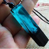 Mystical Blue Wood Resin Necklace