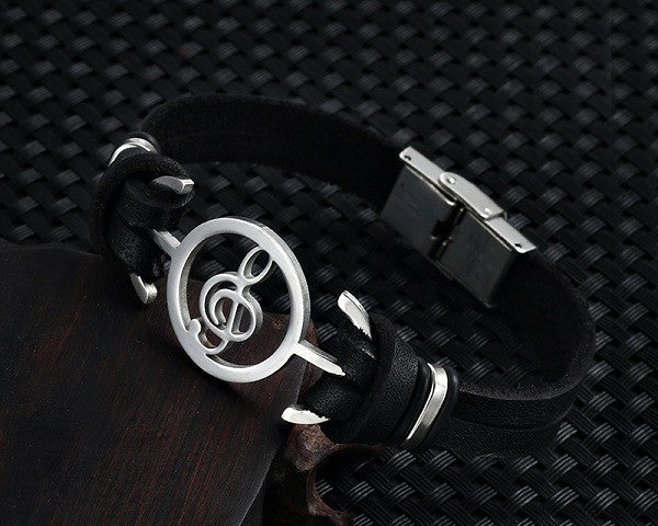 New Musical Notes Leather Bracelet