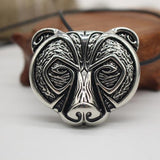 Norse Silver Bear Head Viking Necklace