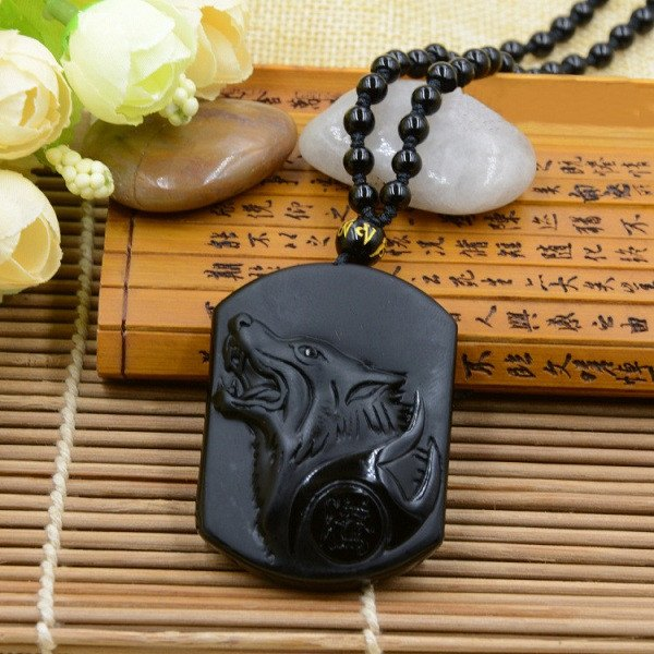 Obsidian Stone Wolf Necklace