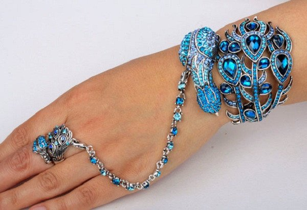 Peacock Bangle Bracelet With Ring