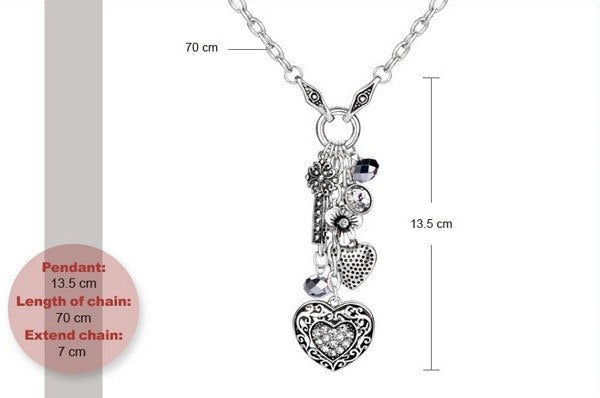 Punk Long Crystal Studded Heart Necklace