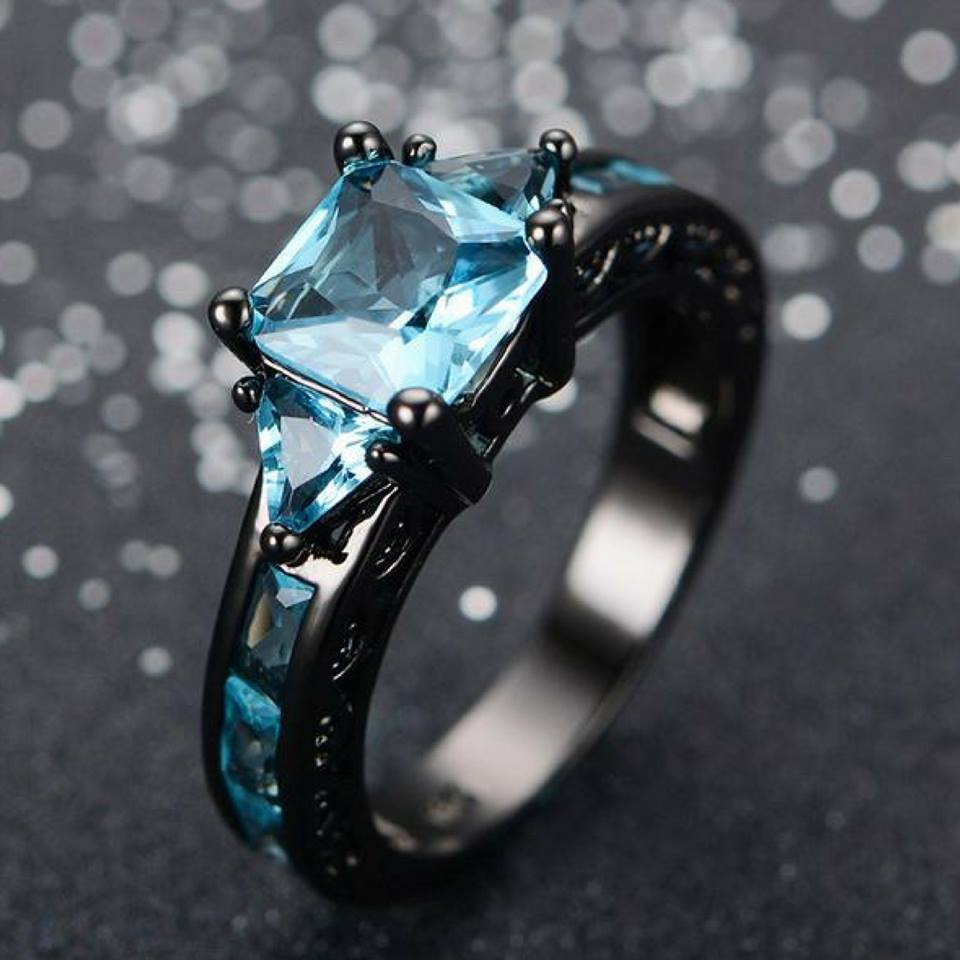 Rings - Black Gold Aquamarine Ring