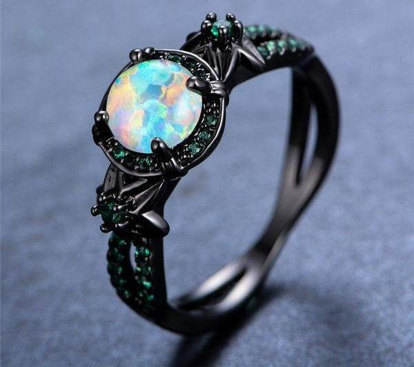 Rings - Gold White Fire Opal Ring