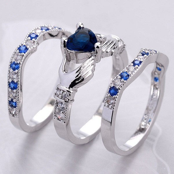 Sapphire Claddagh Ring Set