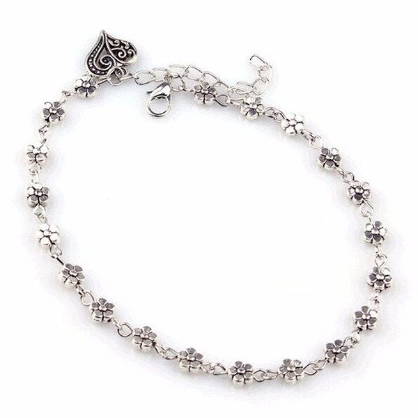 Silver Beaded Heart Anklet
