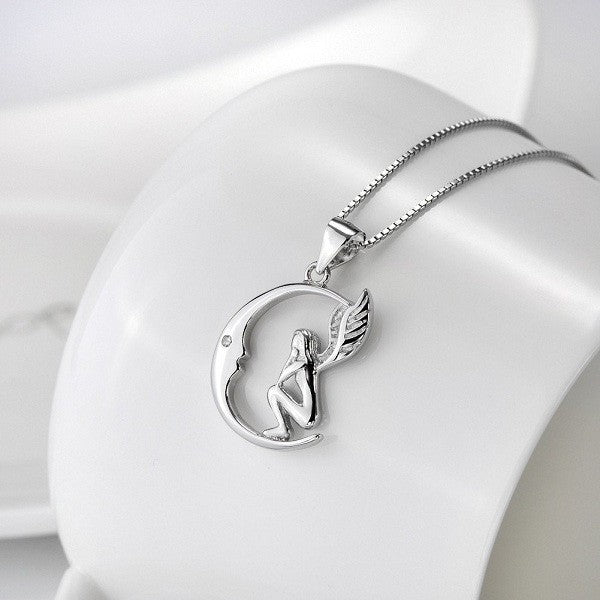 Silver Moon Angel Necklace