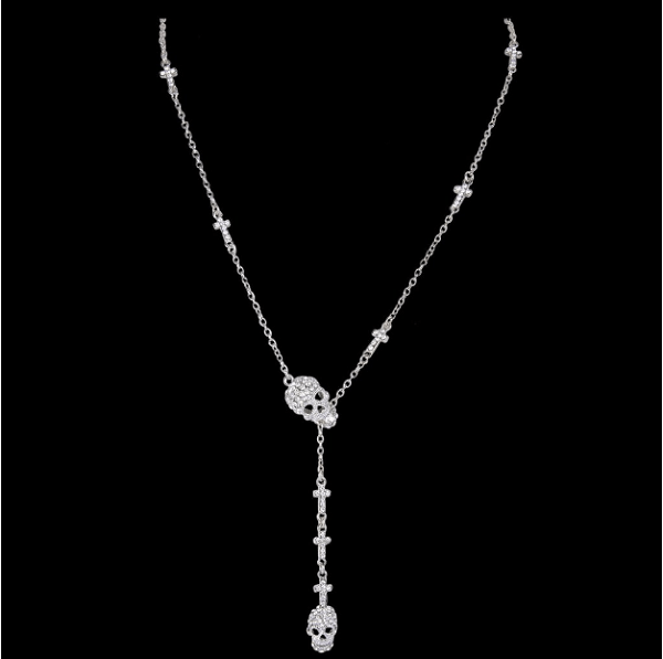 Silver Skull Cross Necklace